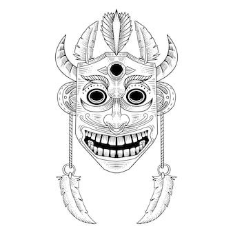 Illustrazione disegnata a mano maschera di legno