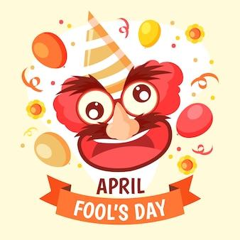 Illustrazione disegnata a mano per il giorno del pesce d'aprile con la faccia comica