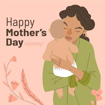 Illustrazione disegnata a mano per la festa della mamma