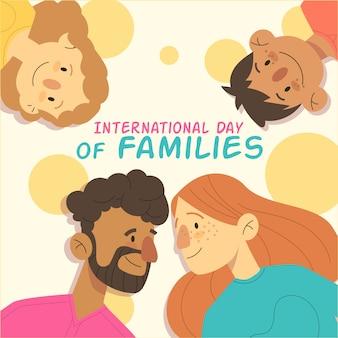 Illustrazione disegnata a mano per la giornata internazionale delle famiglie con scritte