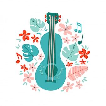Illustrazione disegnata a mano piana della chitarra. manifesto del negozio di strumenti musicali.