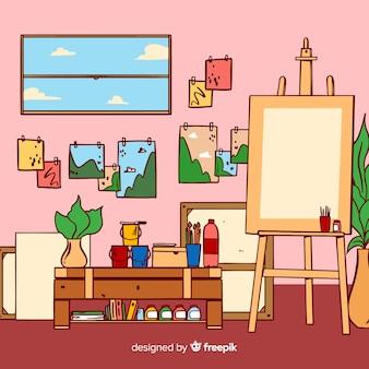 Illustrazione disegnata a mano sul posto di lavoro studio d'arte