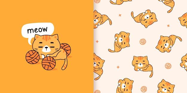 Illustrazione disegnata a mano sveglia dei gatti arancio e modello senza cuciture