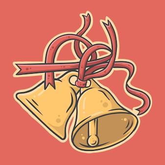Illustrazione disegnata a mano sveglia delle campane di tintinnio