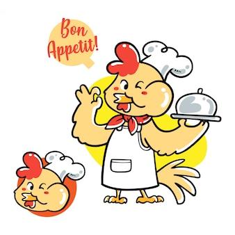 Illustrazione disegnata a mano sveglia di vettore del cuoco unico del pollo
