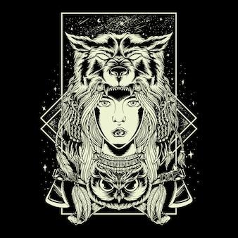 Illustrazione disegno a mano geometria capo delle donne capo lupo