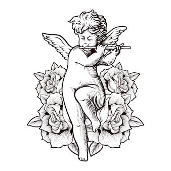 Illustrazione disegno a mano incisione fiore baby cupido