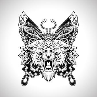 Illustrazione disegno del tatuaggio vintage testa di tigre con farfalla e serpente