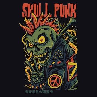 Illustrazione divertente del fumetto punk del cranio