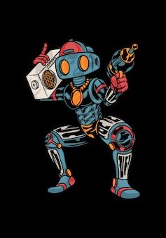 Illustrazione divertente del robot che porta la radio dell'annata