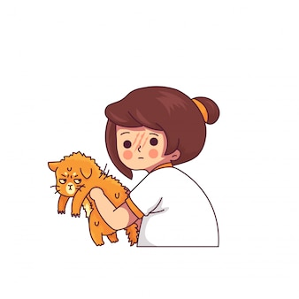 Illustrazione divertente di vettore del carattere delle donne di scratching del gatto