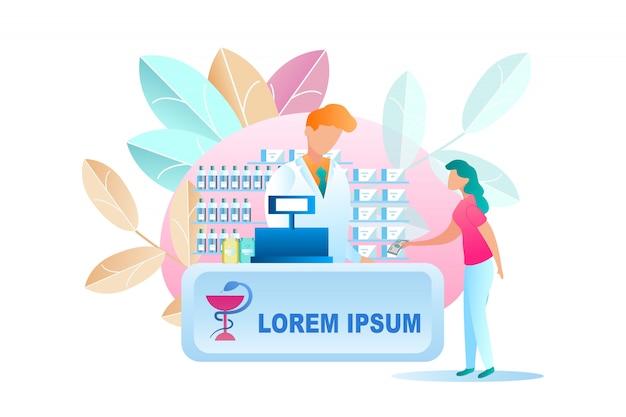 Illustrazione donna che compra medicina in farmacia