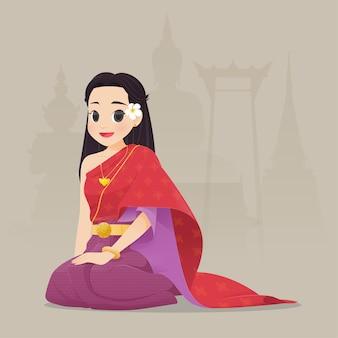 Illustrazione donna tailandese in abito tradizionale, costume tradizionale sud-est asiatico,