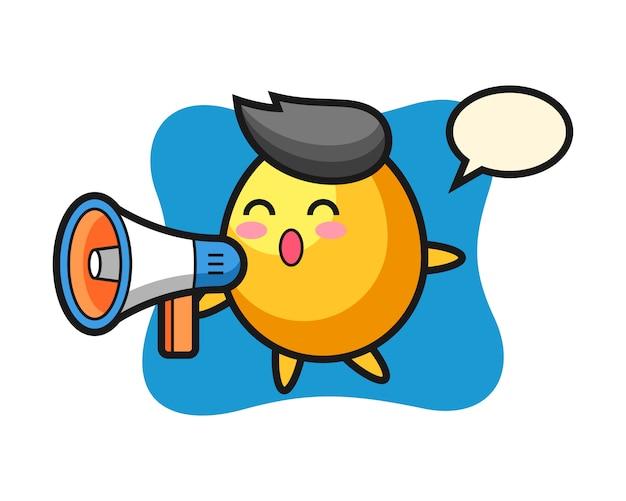 Illustrazione dorata del carattere dell'uovo che tiene un megafono, progettazione sveglia di stile