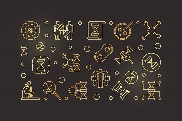 Illustrazione dorata dell'icona di biochimica nello stile del profilo