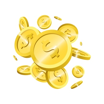 Illustrazione dorata di progettazione delle monete isolata su fondo bianco