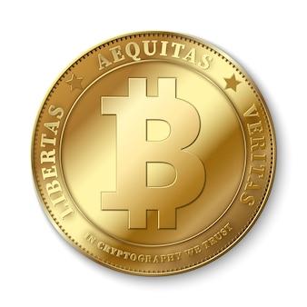 Illustrazione dorata realistica di vettore della moneta del bitcoin 3d per il concetto di attività bancarie e di blockchain della rete del fintech
