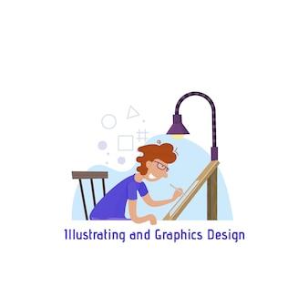 Illustrazione e grafica, concetto per il sito, un uomo attinge una tavoletta grafica.