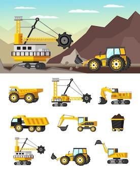 Illustrazione e icone ortogonali di concetto di industria mineraria
