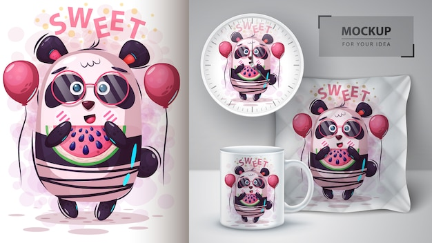 Illustrazione e merchandising del panda dell'anguria
