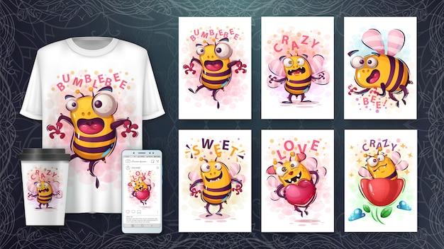 Illustrazione e merchandising dell'ape di cate