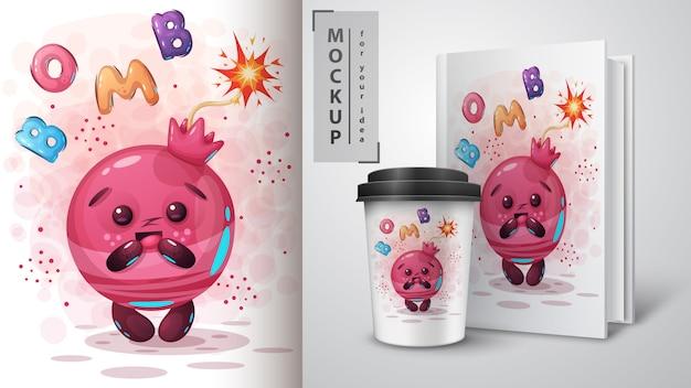 Illustrazione e merchandising della bomba del melograno