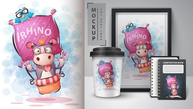 Illustrazione e merchandising di rinoceronte di viaggio