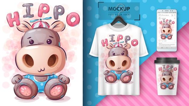 Illustrazione e merchandising divertenti dell'orsacchiotto.