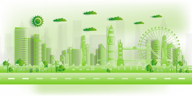 Illustrazione. eco friendly, green city salva il mondo,