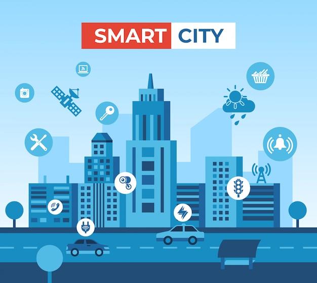 Illustrazione ed elementi di tecnologia della città astuta