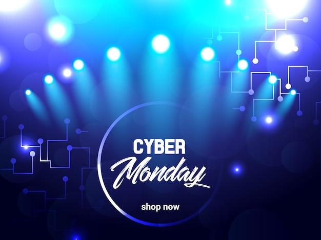 Illustrazione elettrica luminosa astratta per cyber lunedì