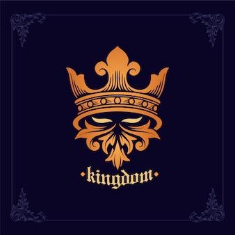 Illustrazione emblema del casco spartano cavaliere il regno