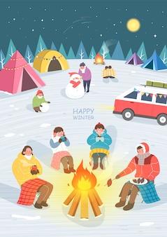 Illustrazione emozionante e bella di viaggio di inverno