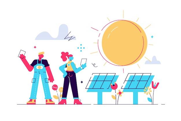Illustrazione. energia rinnovabile alternativa. energia solare, pannelli solari tecnologici. pianificare la progettazione dell'estrazione di risorse ambientali. illustrazione di stile moderno design piatto.