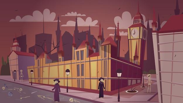 Illustrazione epidemica di peste di londra. cartone animato grande malattia della peste bubbonica di londra