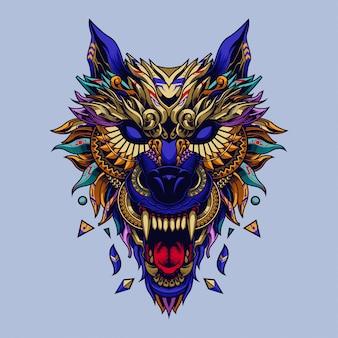 Illustrazione etnica del lupo e design della maglietta
