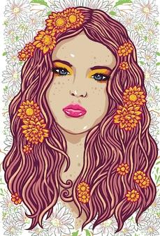 Illustrazione fatta a mano del backround del modello della ragazza di fiore