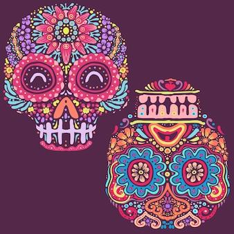 Illustrazione fatta a mano della mandala del fiore del cranio dello zucchero