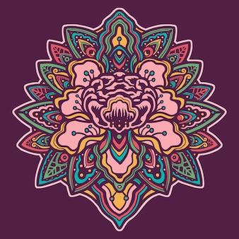 Illustrazione fatta a mano della mandala variopinta del fiore
