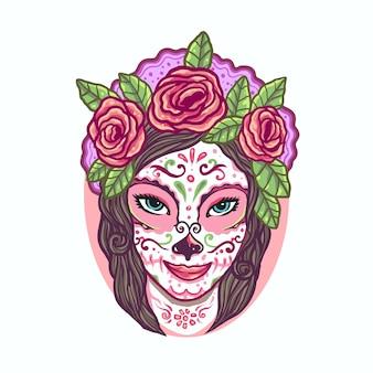 Illustrazione fatta a mano di sugar skull la catrina