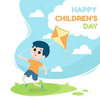 Illustrazione felice del giorno dei bambini con un ragazzo che gioca aquilone
