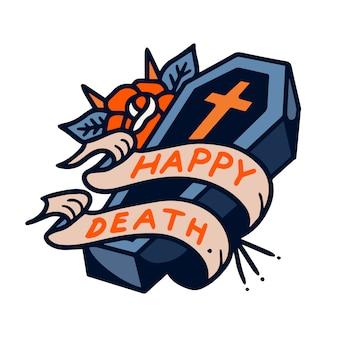 Illustrazione felice del tatuaggio della vecchia scuola della bara di morte