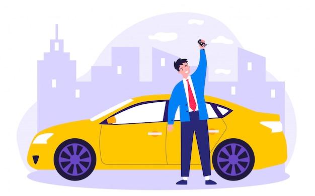 Illustrazione felice dell'automobile del leasing del giovane