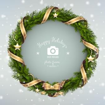 Illustrazione felice della corona di natale della struttura della foto di feste
