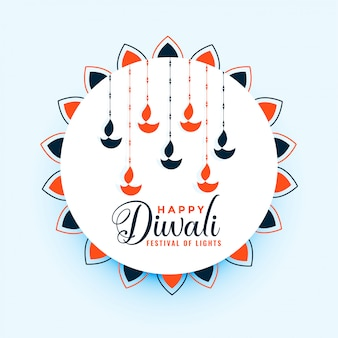 Illustrazione felice della decorazione della lampada di diya di diwali