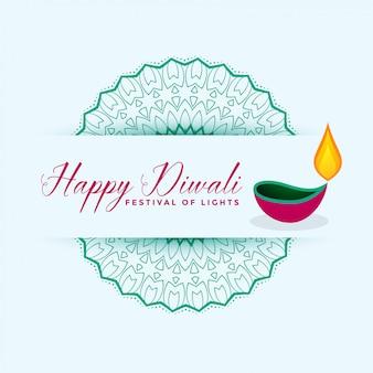 Illustrazione felice della decorazione di diya di festival di diwali