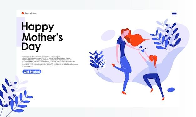 Illustrazione felice della pagina di atterraggio di festa della mamma