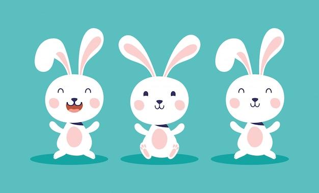 Illustrazione felice di celebrazione di pasqua con i caratteri dei conigli