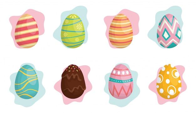 Illustrazione felice di celebrazione di pasqua con le uova dell'insieme dipinte