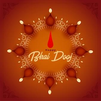 Illustrazione felice di dooj di bhai con la decorazione di diya